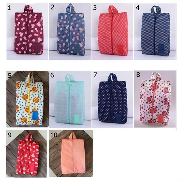 Portable Waterproof Travel Shoe Bag Nylon Storage Bag Pouch Convenient Storage Organizer Shoes Sorting Zipper Tote 10 Patterns A4805 New