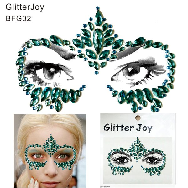 BFG32 Hot Face Mask Festival Harz Gesicht Juwel Edelstein Aufkleber beste Geschenk für ihr Körperbemalung Zubehör bei NYE Party