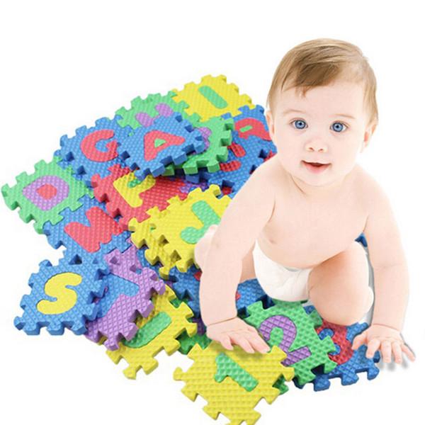 US 36-Pieces Puzzle Mat Apprendimento ABC Alfabeto Studio Bambini Lettere Piano Gioca giocattolo 36 Foam Matyats Colore casuale Bella colorato