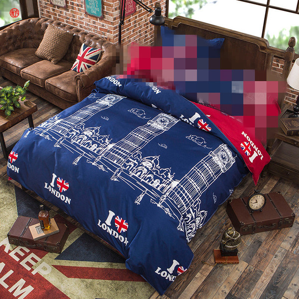 Home textile 1pc duvet cover blue red tower quilt cover flower butterfly printed polyester&cotton adult Summer Autumn bedding