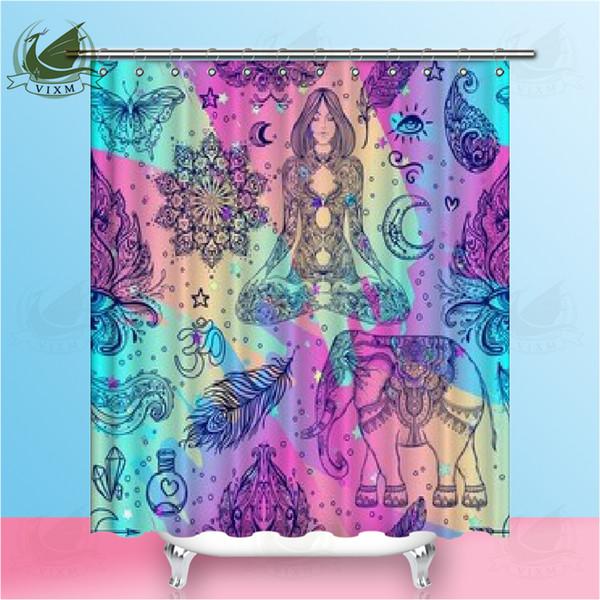 Vixm Spa Decor Stall Shower Curtain Composition Bamboo Tree Floor Mat Orchid Stones Yoga Greenery Fabric Bath Curtains