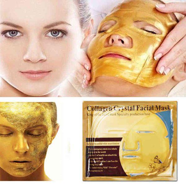 Nave de la gota 10 unids / lote Oro Bio-Colágeno Facial Antiarrugas Hidratante Hidratante Reafirmante Blanqueamiento Mascarilla Exfoliante 60g