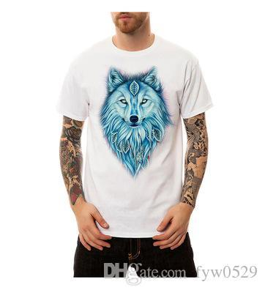 2019 new Fashion T Shirts Men Short Sleeve Shirts Blue rose&wolf tears Printed Man hip hop Tops Tee Streetwear Homme Camiseta