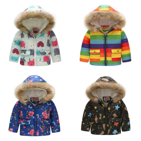 Winter Fashion Warm Cotton Printed Child Coat Fur Collar Baby Girls Boys Jackets Children Outerwear For 2-7 Years Old