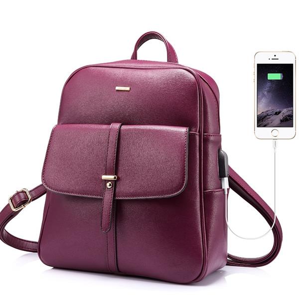 LOVEVOOK sırt çantası kadın dizüstü schoolbag genç kızlar için büyük anti hırsızlık ile harici USB bayanlar çanta PU 2018 # 92254