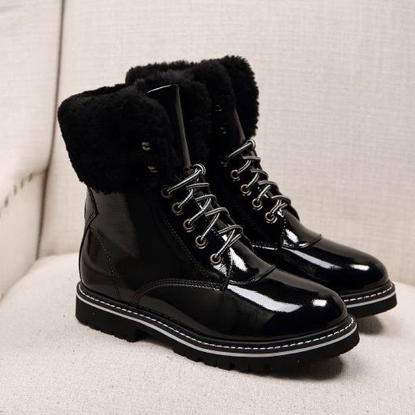 high-end luxury outdoor martin boots for women fashion flat motorcycle boots warm wedge heel winter boots waterproof fashion wild