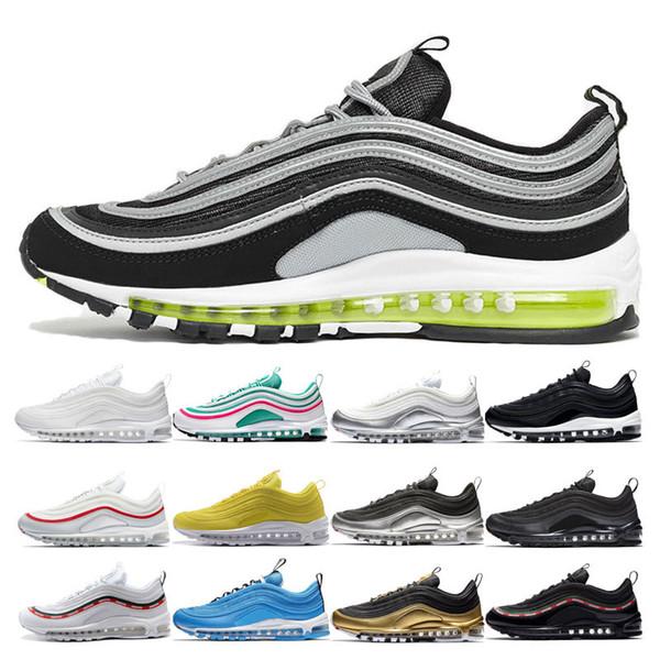 Acheter Nike Air Max 97 Shoes Hommes Femmes Chaussures Course Ultra Japan Sliver Bullet Jaune Chaussures Sport Zapatiallas Cushion Triple Noir Blanc