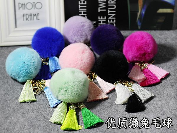 14 colores populares flecos llaveros piel de conejo borla bolas de macramé pompones llavero bolso monedero coche colgante adornos bolso llaveros