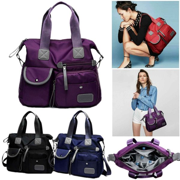 Travel Multi Pocket Tote Womens Large Capacity Nylon Crossbody Shoulder Bag Ladies Handbag Mummy Bags Satchel Backpack Phone Pocket Purse
