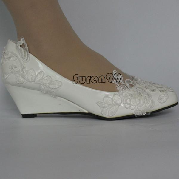 Tatlı kadın Fildişi Beyaz kama dantel inciler parti ayakkabı Düğün Gelin ayakkabıları düşük topuklu ayakkabı büyük boy
