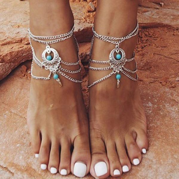 Vintage Taş Kristal Su Damlası Kadınlar Tornozeleira Chaine Cheville Bijoux için Bilek Ayak Takı Barefoot Sandalet halhal Şekle