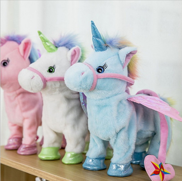 Unicorn Plush Toy 35cm Electric Walking Unicorn Plush Stuffed Animal Toy Electronic Music Toy for Children Christmas Gifts Plan A