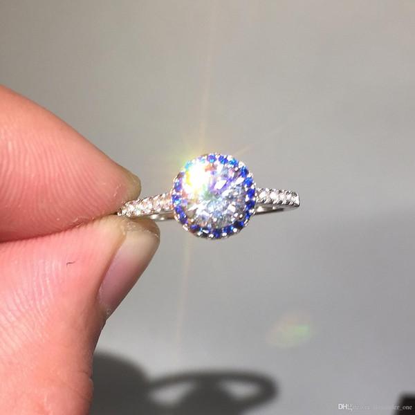 Бренд Леди классический твердый стерлингового серебра 925 кольцо 1ct Сона бриллиантовые кольца свадебные украшения для женщин подарок размер ,5,6,7,8,9,10