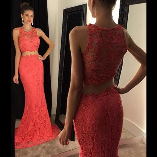Fancy Lace Two Pieces Prom Dresses Cheap Jewel Neck Hollow Back Mermaid Designer Cheap Homecoming Party Formal Dress Evening Gowns Cheap New