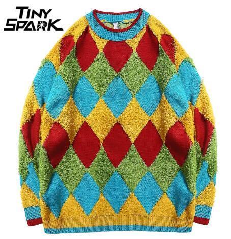 Мужчины хип-хоп Streetwear свитер богемный стиль Толстый вязаный свитер пуловер ретро Урожай Лоскутная плед свитер осень хлопок