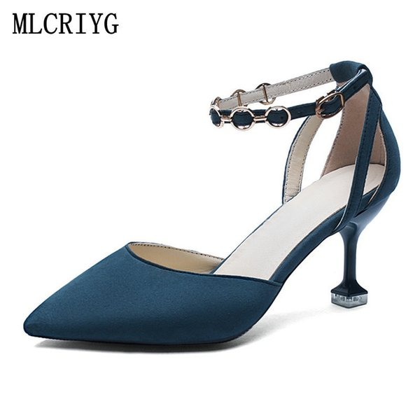 0823adbef04 Dress Shoes Size 35 40 2019 New Summer Women Pumps High Heels Mature Blue  Hollow Woman Beautiful Lady Metal Decoration Footwear Comfort Shoes Mens ...