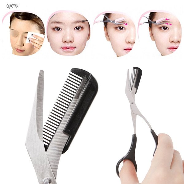 top popular QIAOYAN Women Eyebrow Tweezer Comb Eyelash Hair Removal Grooming Cutter Shaping Eyebrow Trimmer Scissors 2021