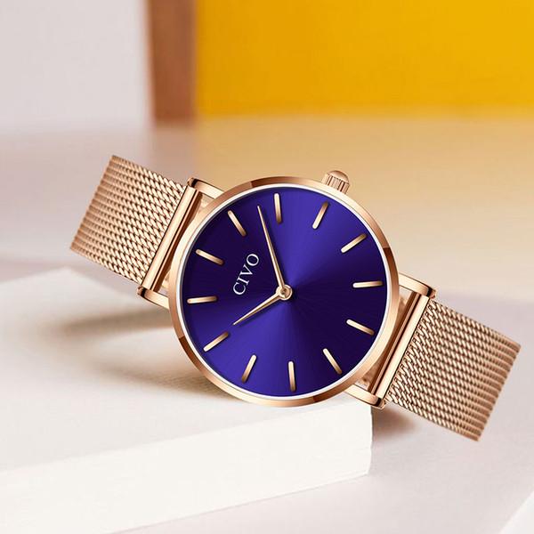 CIVO Ultra Ince Kadın Saat Su Geçirmez Gül Altın Örgü Saatı Bayan Saatler Reloj Mujer Moda Casual Kadın Izle