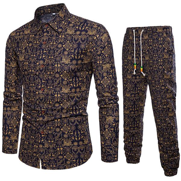 Camisa de manga larga casual para hombre de 2 PC Hombre Camisa de corte slim con estampado de blusa Top + Pantalones Pantalones de hip hop y asedio de rainbow seis