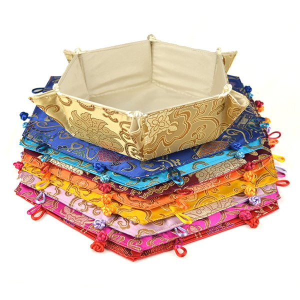 Chinese Style Classic Silk Hexagonal Shape Receive Holiday Candy Tray Wire Frame Also Can be the Holiday Gifts