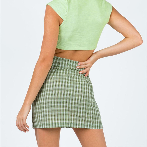 best selling high waist slim women dress Plaid Split skirt summer mini dresses shorts fashion mini skirts will and sandy women clothes
