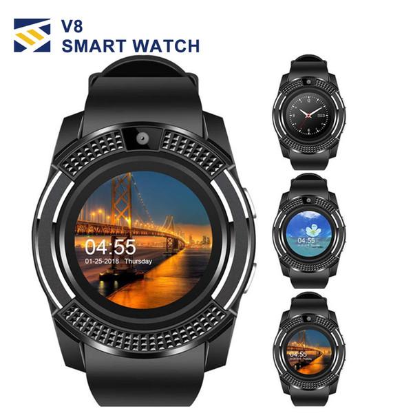 Para apple smart watch smartwatch v8 bluetooth telefone relógios de pulso com câmera touchscreen slot para cartão sim câmera para iphone android homens mulheres