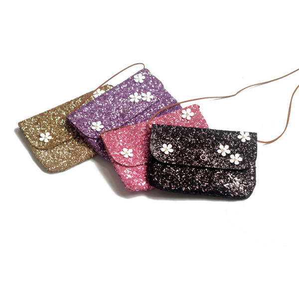 2019 Mini Shoulder Bag Cute Flower Messenger Bag Women Kids All-Match Key Coin Purse Sequined Lovely Handbags Simple girl Clutch