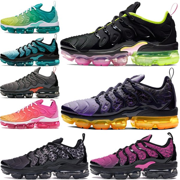 top popular Cheap Geometric Active Fuchsia Tn Plus running shoes Laser Pink Rise black white Grid Print Olympic mens womens sneakers air trainers 36-45 2019