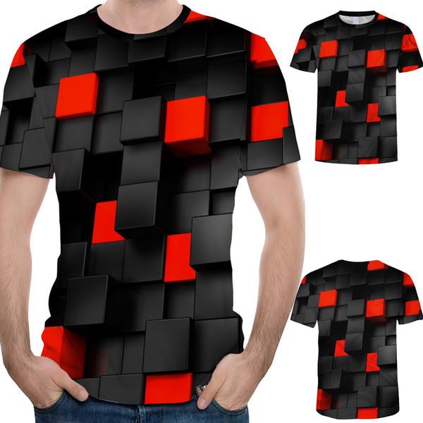 Casual Negro Imprimir Hombres Ropa Moda Hombres Splash-ink Impresión en 3D Tees Camisa de manga corta O-cuello Camiseta Blusa Tops harajuku # C