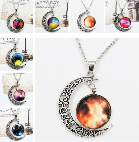 Vintage Moon Phase Pendant Necklace 36 Style Starry Sky Moon Face Outer Space Dark Universe Starry Camo Gemstone Pendant Necklaces