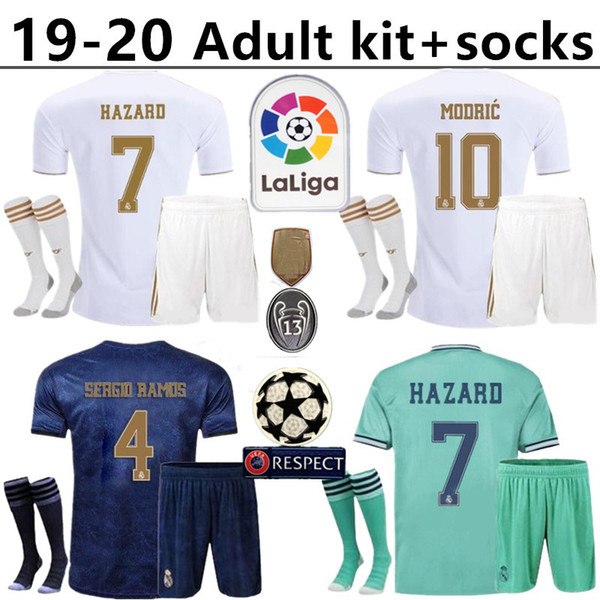 Real Madrid kit per adulti + calzini Hazard soccer jersey 2019 2020 real madrid jerseys BENZEMA SERGIO RAMOS KROOS 19 20 pullover di calcio maillot