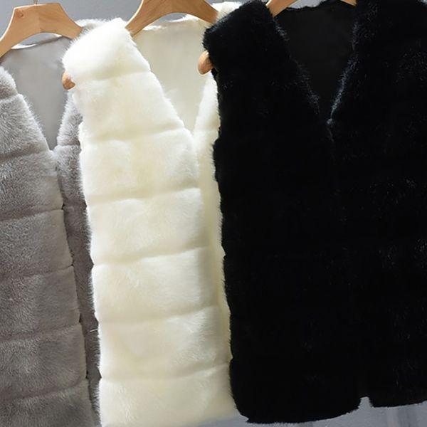 Kunstpelz Weste Jacke Mantel Frauen Winter Dicke Warme Oberbekleidung Mantel Parka Ärmelloses V-ausschnitt Kurze Weste Plus Größe 4X 6Q2305