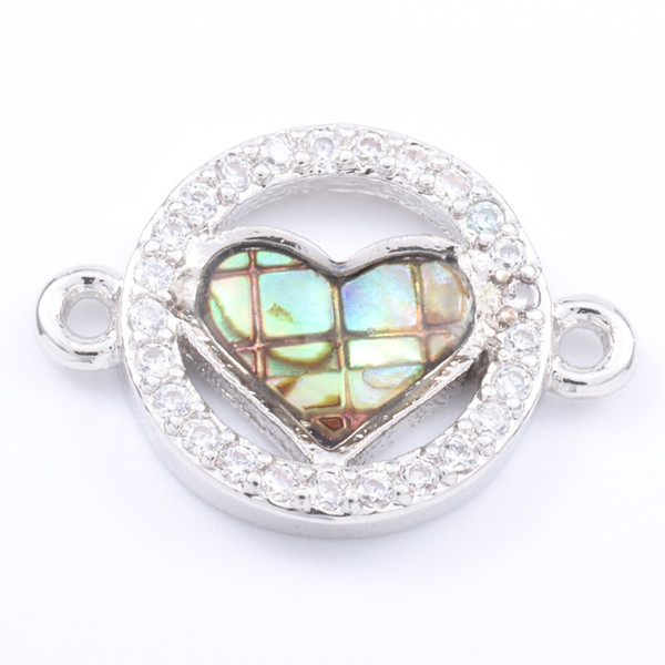 Singreal Abalone Shell Micro Pave Heart shaped Charms Bracelet necklace Choker Pendant connectors for women DIY Jewelry making