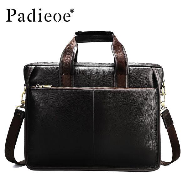 Padieoe Luxury Design Genuine Leather Briefcase Fashion Business Men Laptop Bag Big Capacity Casual Tote Quality Men Leather Bag #222101
