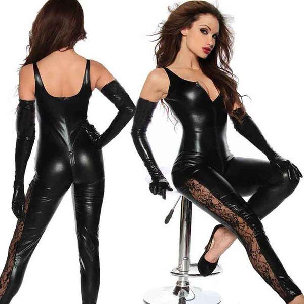 Black Wetlook Vinyl Leather One Piece Jumpsuit Elegante pizzo Zipper To Biforcazione serbatoio manica Club Catsuits Womens pagliaccetti Tuta