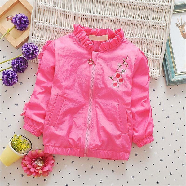 good quality 2019 new spring autumn girls jackets coat baby kids flower embroidery outwear toddler children girl casual tops coats