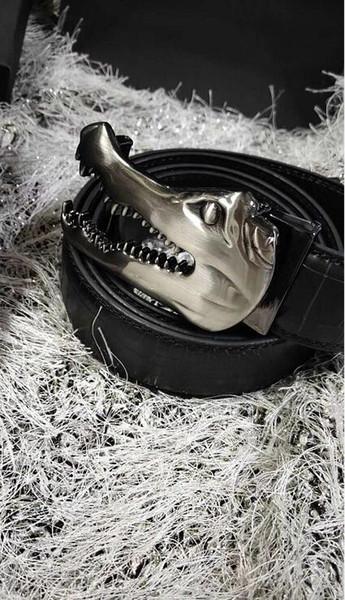 Fashion crocodile belt buckle slivery brand designer mens belt high quality belts for men Jeans pants genuine leather belts F9