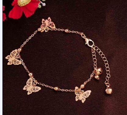 cute Butterfly charm anklet bracelet for women Color Gold Bracelet on a leg Fashion foot chian Ankle Love Jewelry Butterfly Anklet Bracelet