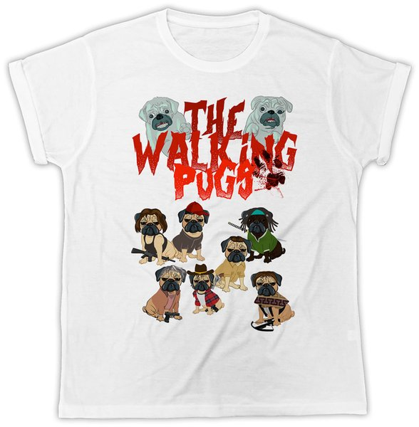 THE WALKING PUGS WALKING DEAD PUG COOL IDEAL GIFT PRESENT FUNNY FASHION TSHIRT colour jersey Print t shirt