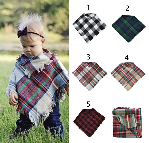 5 color baby girl winter plaid cloak cape kid lattice hawl carf poncho ca hmere cloak outwear children coat jacket clothing b thumbnail