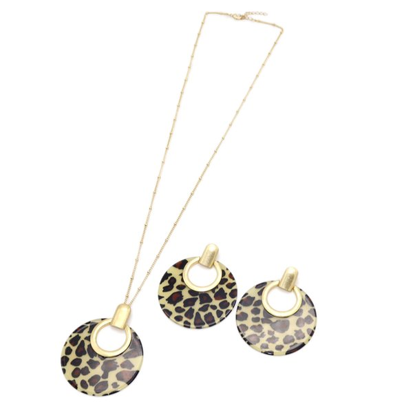 Fashion Round Leopard Print Acrylic Pendant Necklace Earrings Long Chain Sweater Necklace ACC Geometric Body Jewelry