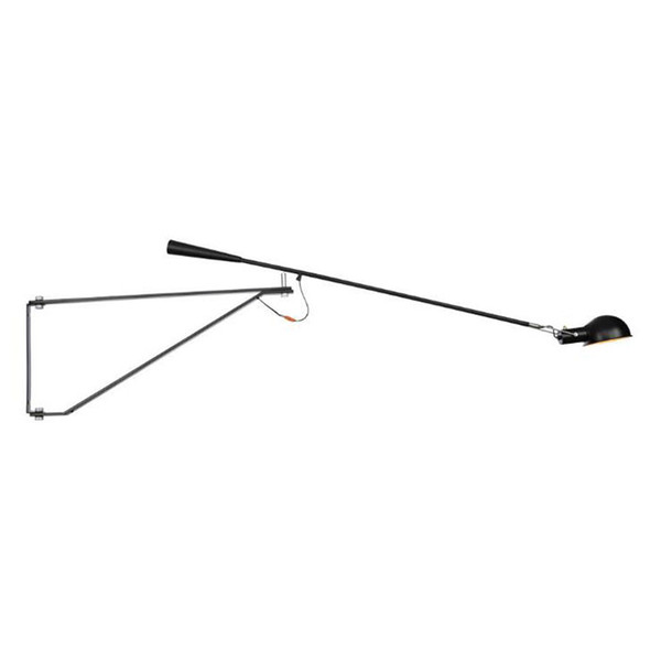 American retro super long arm wall light for cafe clothing store, Nordic europe style black white wall lamp, industrial sconces