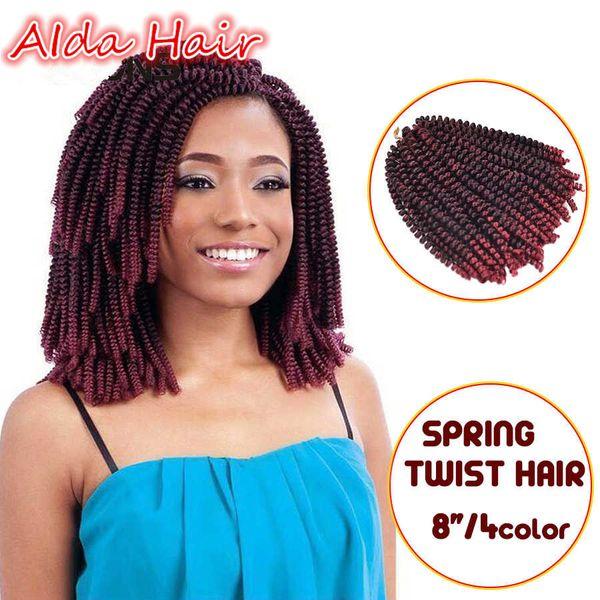 Natürliche Nubian Twist Kanekalon häkeln Haarköpfe 8 Inch weiche Frühling Twist Haarverlängerung Micro synthetische lockige Webart häkeln Zöpfe 30 Wurzeln