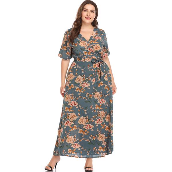 Tie Waist Plus Size Floral Printed Maxi Dress Short Sleeve Woman Summer V Neck Long Wrap Dress