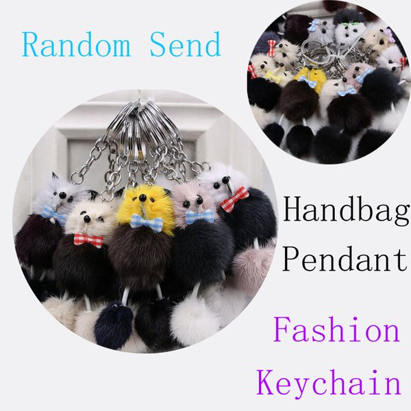 Free DHL Pompoms Fox Fur Fluffy Poodle Trinket Keyrings Lover Pendants Car Keys Ring Women Key Chains Pocket Bag Keychain Random Send M250F