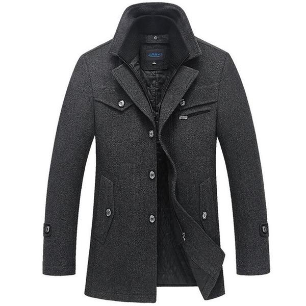 Kış Ceket Erkekler Uzun Yün Kalın Rüzgarlık Yün Palto Casaco Masculino Palto Jaket erkek Rahat Siper Peacoat 5xl Ceketler T2190606
