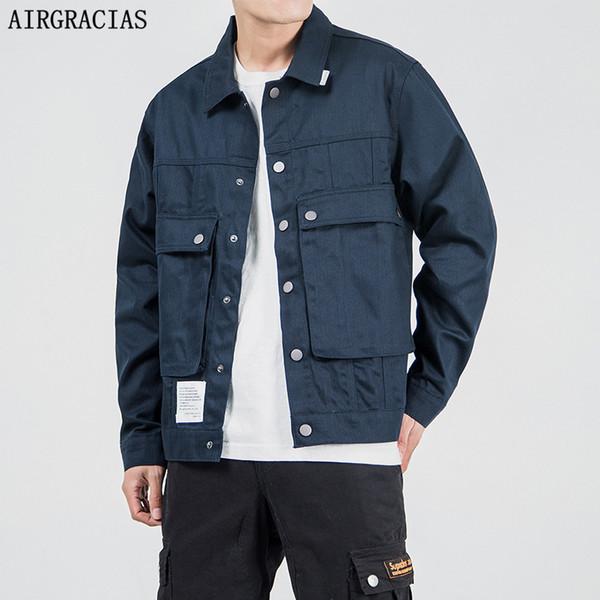 AIRGRACIAS Новый 2019 Куртка Мужская Мода Повседневная Свободная Мужская Куртка Уличная Одежда Бомбардировщик Мужские куртки мужские Пальто Плюс Размер M-5XL