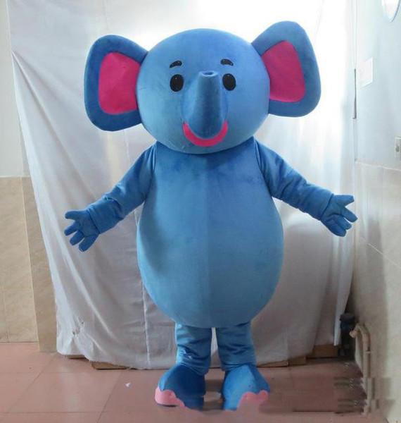 Halloween Blue Elephant Mascot Costume High Quality Cartoon Animal Anime theme character Christmas Carnival Fancy Costumes