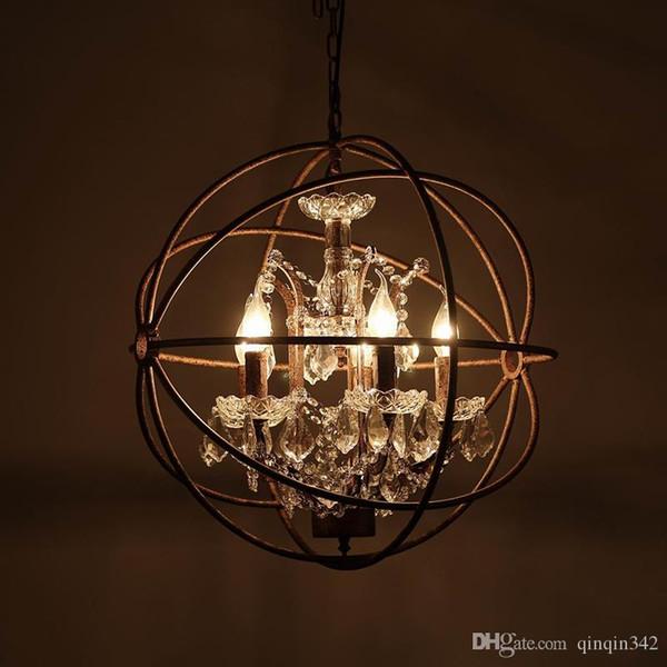 Retro Vintage Rost Eisen Käfig Kronleuchter E14 großen Stil Kristall Kronleuchter Glanz LED-Lampe Beleuchtung für Wohnzimmer Schlafzimmer Bar
