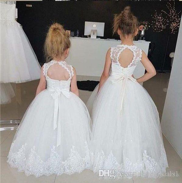 Prinzessin Little Flower Girl Kleider mit schiere High Neck Puffy Ballkleid Weiß Erstkommunion Kleider 2019 Hochzeitsgast Kleid